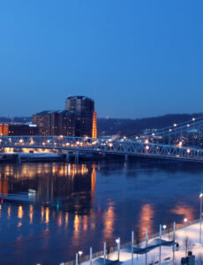 Northern Kentucky Skyline with Roebling Suspension Bridge scaled
